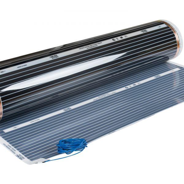 Folia grzewcza HD310 o szerokości 100 cm i mocy 80W/m² - z podłączonymi przewodami