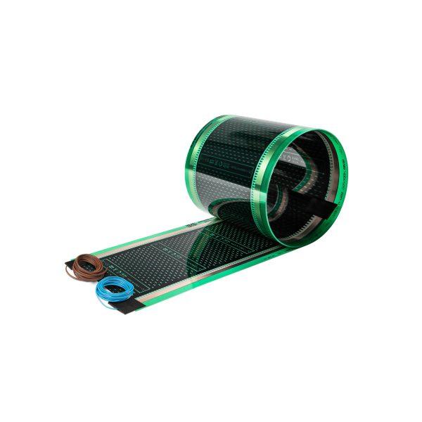 Folia grzewcza HD310G o szerokości 100 cm i mocy 220W/m2 - z podłączonymi przewodami