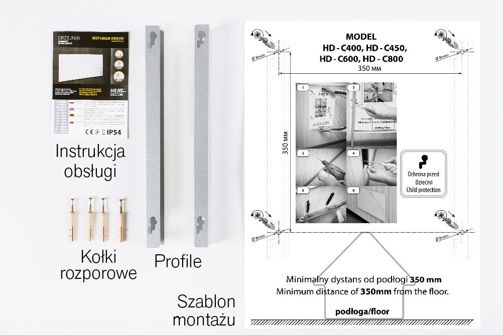 Panel grzewczy Heat Decor HD-C600T/06 - termostat MOC 750W