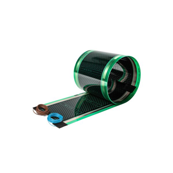 Folia grzewcza HD3025G o szerokości 25 cm i mocy 220W/m² - z podłączonymi przewodami