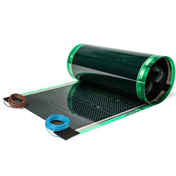 Folia grzewcza HD305G o szerokości 50 cm i mocy 220W/m² - z podłączonymi przewodami