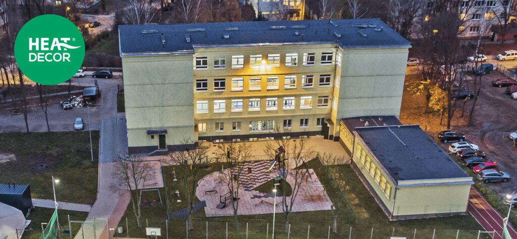 Ekologiczne ogrzewanie szkoły podczerwienią podłogowe elektryczne